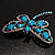 Turquoise Stone Crystal Butterfly Brooch - view 5
