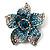 Small Sky Blue Diamante Flower Brooch (Silver Tone)