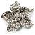 Small Diamante Flower Brooch (Silver Tone)