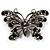 'Night Beauty' Jet Black Crystal Butterfly Brooch (Black Tone)