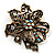 Bronze-Tone Vintage Filigree Floral Brooch - view 1