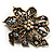 Bronze-Tone Vintage Filigree Floral Brooch - view 2