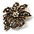 Bronze-Tone Vintage Filigree Floral Brooch - view 4