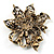 Bronze-Tone Vintage Filigree Floral Brooch - view 7