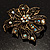 Bronze-Tone Vintage Filigree Floral Brooch - view 8