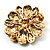 Vintage Swarovski Crystal Floral Brooch (Antique Gold) - view 5