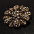 Vintage Swarovski Crystal Floral Brooch (Antique Gold) - view 10