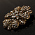 Vintage Swarovski Crystal Floral Brooch (Antique Gold) - view 6