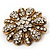 Vintage Swarovski Crystal Floral Brooch (Antique Gold) - view 4