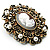 Imitation Pearl Filigree Cameo Brooch (Bronze Tone) - view 3