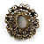 Imitation Pearl Filigree Cameo Brooch (Bronze Tone) - view 5