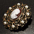 Imitation Pearl Filigree Cameo Brooch (Bronze Tone) - view 6