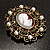 Imitation Pearl Filigree Cameo Brooch (Bronze Tone) - view 7