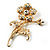Exquisite Crystal Flower Brooch (Gold Tone) - view 9