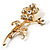 Exquisite Crystal Flower Brooch (Gold Tone) - view 2