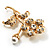Exquisite Crystal Flower Brooch (Gold Tone) - view 7