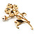 Exquisite Crystal Flower Brooch (Gold Tone) - view 4