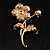 Exquisite Crystal Flower Brooch (Gold Tone) - view 8