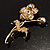 Exquisite Crystal Flower Brooch (Gold Tone) - view 11