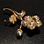 Exquisite Crystal Flower Brooch (Gold Tone) - view 5