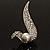 Modern Diamante Faux Pearl Leaf Brooch (Silver Tone) - view 8