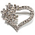 Open Diamante Floral Heart Brooch (Silver Tone)