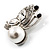Tiny Crystal Butterfly Brooch (Silver Tone) - view 3