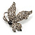 Small Diamante Butterfly Brooch (Silver Tone) - view 7