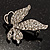 Small Diamante Butterfly Brooch (Silver Tone) - view 4