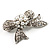 Small Crystal Faux Pearl Bow Brooch - view 8