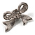 Small Crystal Faux Pearl Bow Brooch - view 4