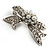 Small Crystal Faux Pearl Bow Brooch - view 7
