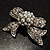 Small Crystal Faux Pearl Bow Brooch - view 5