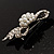 Small Crystal Faux Pearl Bow Brooch - view 6