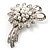 Delicate Faux Pearl Bridal Floral Brooch (Silver Tone) - view 8