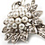 Delicate Faux Pearl Bridal Floral Brooch (Silver Tone) - view 6