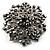 Victorian Corsage Flower Brooch (Silver&Jet Black) - view 8