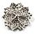 Victorian Corsage Flower Brooch (Silver&Jet Black) - view 4