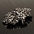 Victorian Corsage Flower Brooch (Silver&Jet Black) - view 6