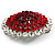 Hot Red Crystal Corsage Brooch (Silver Tone) - view 7
