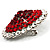 Hot Red Crystal Corsage Brooch (Silver Tone) - view 3
