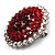 Hot Red Crystal Corsage Brooch (Silver Tone) - view 9