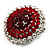 Hot Red Crystal Corsage Brooch (Silver Tone) - view 10