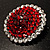 Hot Red Crystal Corsage Brooch (Silver Tone) - view 2