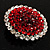 Hot Red Crystal Corsage Brooch (Silver Tone) - view 6