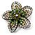 Five Petal Diamante Floral Brooch (Black&Olive Green) - view 3