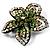 Five Petal Diamante Floral Brooch (Black&Olive Green) - view 4
