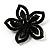 Five Petal Diamante Floral Brooch (Black&Olive Green) - view 5