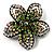 Five Petal Diamante Floral Brooch (Black&Olive Green)
