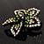 Five Petal Diamante Floral Brooch (Black&Olive Green) - view 6